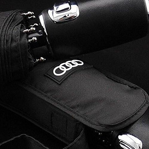 Audi genuine leather handle Japanese brand sun rain Umbrella 3 Fold Anti UV French royal umbrella men women (Black) by Pinsjar (Image #2)
