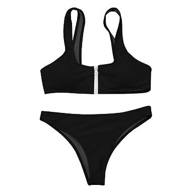 e20649c7e4 SUNBIBE Women's Sexy Brazilian Solid Bikini Front Zipper Swimwear 2PCs  Swimsuit for Beach (Black,