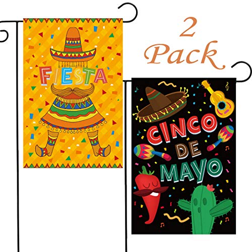 HomyPlaza Cinco De Mayo Garden Flag 2 Pack Fiesta Home Yard Outdoor Decorative Burlap Double Sided 12x18 Inch Cactus Yellow Black