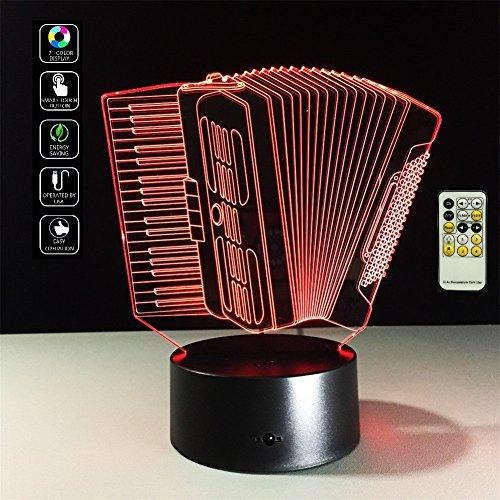 deerbird Acordeón Instrumentos Musicales visual Ilusión LED 3d control remoto lámpara de mesa Luz de noche con 7Cambio...