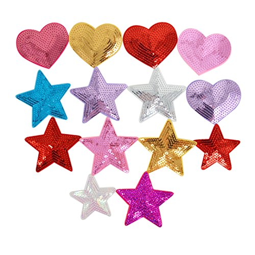 (Buddy 14 Pcs Sequins Star Heart Shaped Patch Applique Iron-on Badge Embroidered Patch Clothes DIY Accessory)
