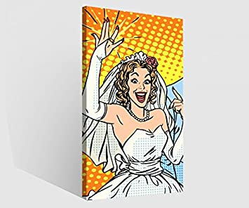 Lienzo imágenes 1tlg Anillo de Boda matrimonio pareja novia dibujos animados Impresión Digital sobre lienzo pared