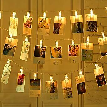 Guirnalda de Luces para Decoraci/ón de Fotos Foto Peg Clip Cuerda Blanco Luces con Foto Clip Decoraci/ón de La Boda Qedertek Cadena de Luces 6.3M 40 LED
