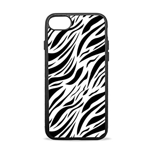 iPhone 7 Case. Zebra Texture Black and White Shock Absorption TPU+PC+Pearl Plate Material Cover Case Drop Protection Phone Case for iPhone 7/8 (Plus)