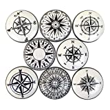 Set of 8 Black and White Compass Nautical Print Cabinet Knobs