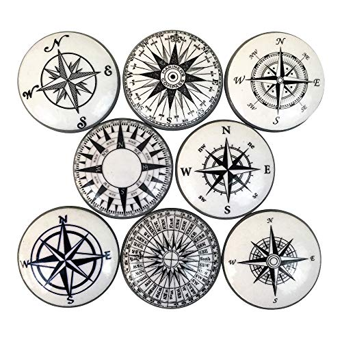 Hardware Cabinet Nautical (Set of 8 Black and White Compass Nautical Print Cabinet Knobs)