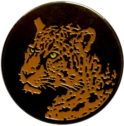 Cheetah Black Nickel Golf Ball Marker with Matching Hat Clip