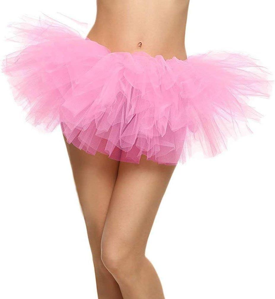 Ksnrang Tutu Falda de Mujer Falda de Tul 50s Short Ballet 5 Capas ...