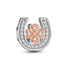 Glamulet Jewelry Women's 925 Sterling Silver Clear Crystal Rose Gold Four Leaf Clover in Horseshoe Charm Fits Pandora Beacelet