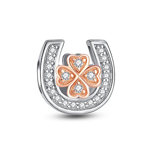 Glamulet Art Women's 925 Sterling Silver Clear Crystal Rose Gold Four Leaf Clover in Horseshoe Charm Fits Pandora - Horseshoes Sapphire