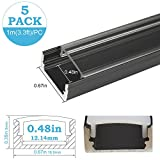 inShareplus U Shape LED Aluminum Channel System With Transparent Cover, End Caps and Mounting Clips, Aluminum Profile for LED Strip Light Installation, U02 Model, 5 Pack, 3.3ft/1 Meter, Black