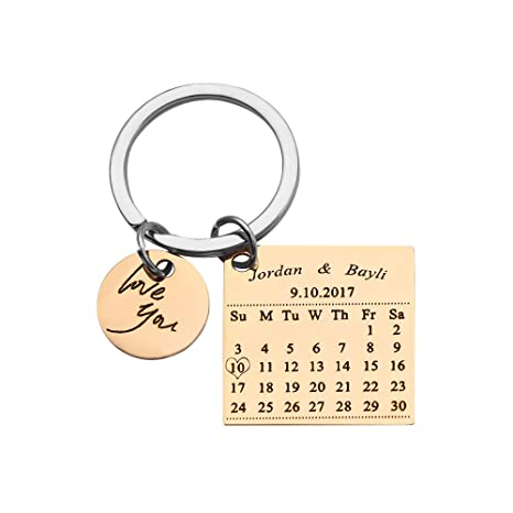 Personalized Special Date Calendar Keychain - Customized Stainless Steel  Key Chain with Date and Name Carving, Creative Gifts for Lover (Gold-1)