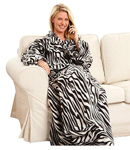 Snuggie Fleece Blanket with Sleeves Zebra