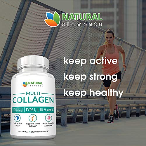 51paam6k67L - Multi Collagen Protein Capsules - 180 Collagen Capsules - Type I, II, III, V, X Collagen Pills - Proprietary Blend of Eggshell, Chicken, Wild Fish & Grass-Fed Beef Collagen Peptides - 2025mg per serv