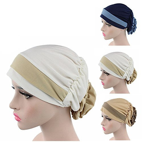 [Ever Fairy 3 Colors Pack Chemo Cancer Head Scarf Hat Cap Ethnic Cloth Print Turban Headwear Women Stretch Flower Muslim headscarf (3 Colors] (Ethnic Hats)