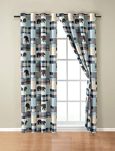 Rustic Modern Farmhouse Cabin Lodge Window Treatment Grommet Curtain Set with Patchwork of Grizzly Bears and Buffalo Plaid Check Patterns Beige Blue - Western 2 (Curtain Set)