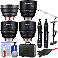 Rokinon Xeen 16mm T/2.6, 24mm, 50mm, & 85mm T/1.5 Pro Cine Lens Bundle (for Video DSLR Canon EF) with Waterproof Hard Case + Camera Slider + Stabilizer Kit