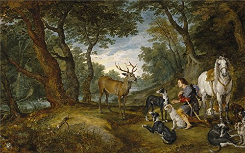 Oil Painting 'Rubens Peter Paul Brueghel The Elder Jan Saint Hubert's Vision 1615 30 ' Printing On Perfect Effect Canvas , 18 X 29 Inch / 46 X 73 Cm ,the Best Nursery Gallery Art And Home Artwork And Gifts Is This High Quality Art Decorative Prints On Canvas