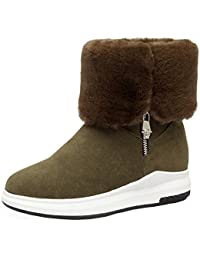Women's Fashion Faux Suede Furry Folded Top Side Zipper Ankle Booties Round Toe Platform Short Snow Boots