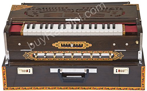 Maharaja Musicals Calcutta Harmonium, Scale Changer, In USA, Concert Quality, Triple Reed, 9 Scales - 3 3/4 Octave, Folding, Coupler, Tuned to A440, Mahogany Color, Padded Bag (US-PDI-BGH) -