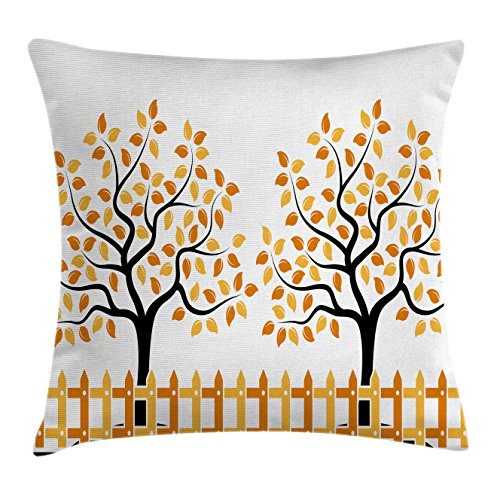 Shady Tree Studio (Farm House Decor Throw Pillow Cushion Cover by Ambesonne, Border with Shady Deciduous Autumn Trees Growth Leaf Seasonal Background, Decorative Square Accent Pillow Case, 16 X 16 Inches, Orange Black)