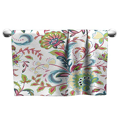 Floral Hand Towels Seamless Pattern with Fantasy Flowers Natural Wallpaper Floral Decoration curl Illustration Paisley Print Hand Drawn Elements Home decor2,Hooded Towel for Boys