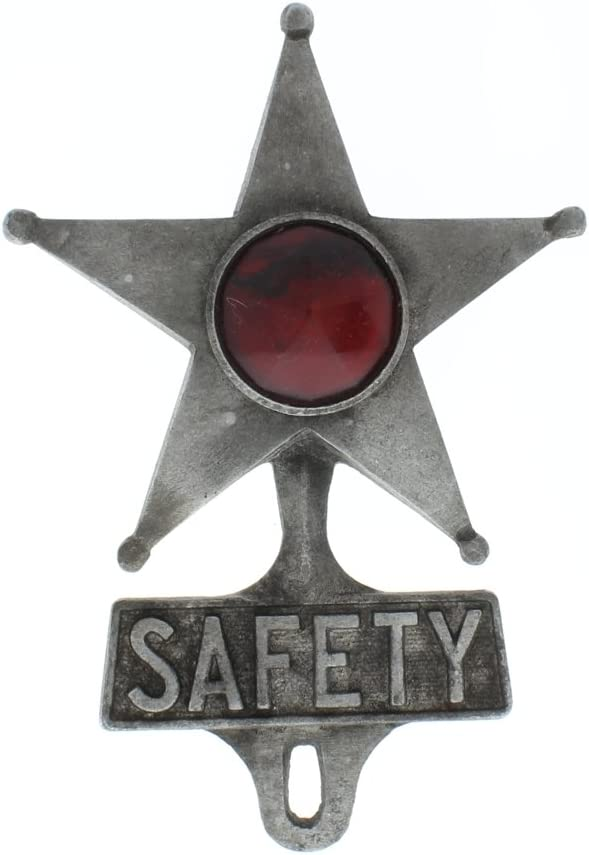 Metal Safety Star /& Red Jewel Reflector License Plate Fob