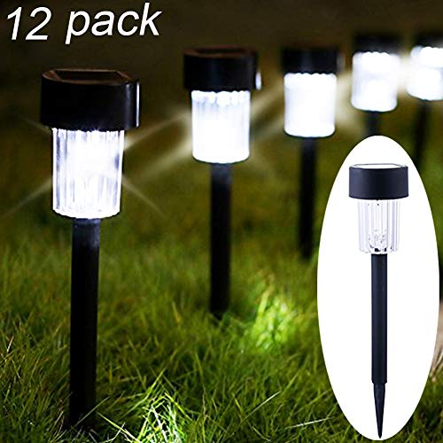 Maggift 12 Pack Solar Pathway Lights Solar Garden Lights Outdoor Solar Landscape Lights for Lawn, Patio, Yard, Walkway, ()