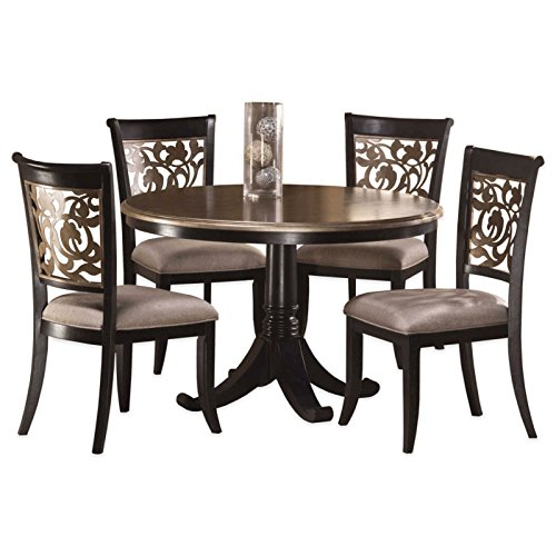 5-Piece Dining Set in Black Distressed Grey
