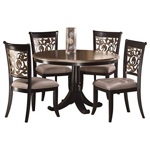5-Piece Dining Set in Black Distressed Grey