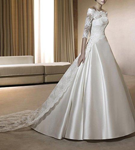 Hochzeitskleider Lace BRIDE GEORGE Weiß Brautkleider A aermel Frauen Satin Dreiviertel Linie 4f4wqCa