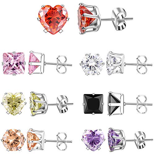 (XZP Mixed Shapes Stainless Steel Stud Earrings Heart Square Round Fashion Zirconia Jewelry 7 Pairs In Set For Women Gift)