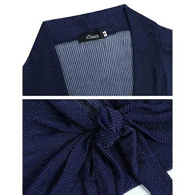 iClosam Womens Tie Front 3/4 Sleeve Sheer Shrug Cropped Bolero Cardigan at Women's Clothing store