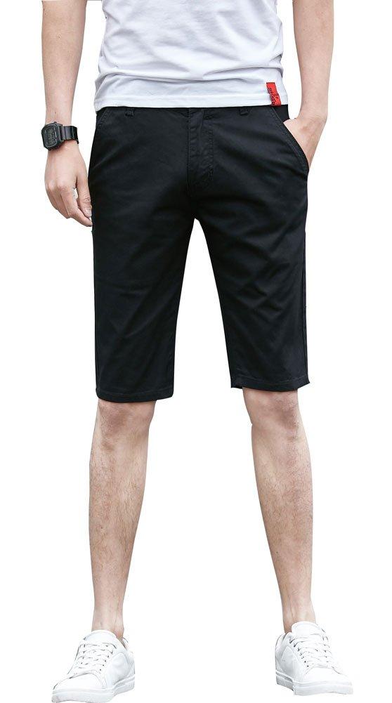 Plaid&Plain Men's Flat Front Skinny Shorts Men's Chino Shorts 7507Black 28