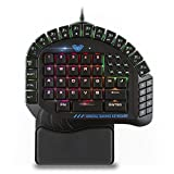 AULA One Handed Gaming Keyboard, RGB LED Backlist Mechanical Keyboard with Removable Hand Rest for PC Gamer & Typing