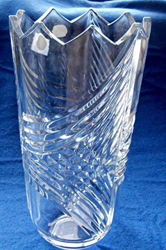 Bohemian Crystal Vase from Czech Republic 9-3/4 X 5 with Diamond Flare Pattern & Sharks Tooth Top