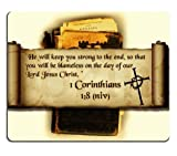 Christian bible verse corinthians 1:8 Mouse Pads Customized Made to Order Support Ready 9 7/8 Inch (250mm) X 7 7/8 Inch (200mm) X 1/16 Inch (2mm) High Quality Eco Friendly Cloth with Neoprene Rubber MSD Mouse Pad Desktop Mousepad Laptop Mousepads Comfortable Computer Mouse Mat Cute Gaming Mouse_pad