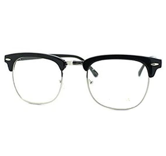 Amazon.com: Vintage Inspired Classic Half Frame Horn Rimmed Clear ...