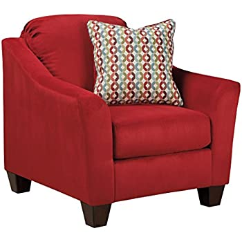 Ashley Furniture Signature Design   Hannin Accent Chair   Contemporary  Single Seat Sofa Armchair   Red