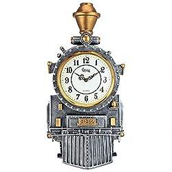 Design Toscano Casey Jones Steam Locomotive Train Sculptural Wall Clock, Full Color