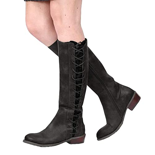 91a5ba8e273 Syktkmx Womens Winter Knee High Boots Lace Up Motorcycle Riding Low Chunky  Heel Zip Boots