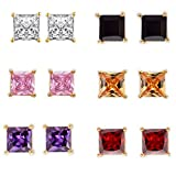Efulgenz Jewelry 14K Gold Plated Hypoallergenic Cubic Zirconia Stud Earrings Set for Pierced Ears(6 pairs)