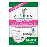 Vet's Best Comfort Fit Disposable Female Diapers, 12 Count, Medium