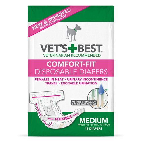 Vet's Best Comfort Fit Dog Diapers   Disposable Female Dog Diapers   Absorbent with Leak Proof Fit    Medium, 12 Count