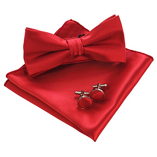 JEMYGINS Mens Red Bow Tie Pre-tied Silk Bowtie and Pocket Square Cufflink Set (2)