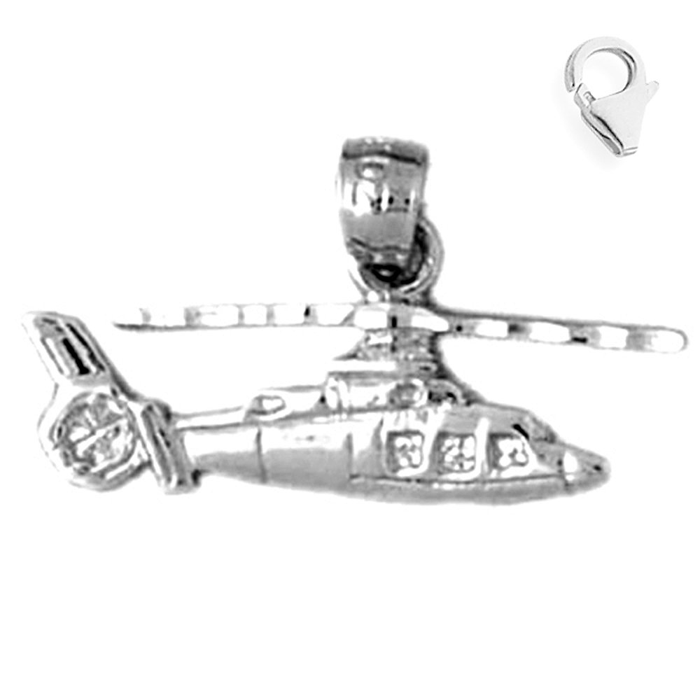 Jewels Obsession Helicopter Pendant Sterling Silver 13mm Helicopter with 7.5 Charm Bracelet