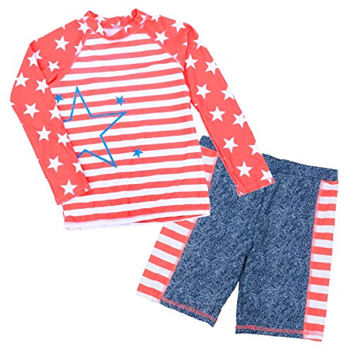 6b24e69025 Baby Girls Two Piece Swimwear Semaless Soft Sun Protection High Collar Long  Sleeve Long Jammer 6-7T Red