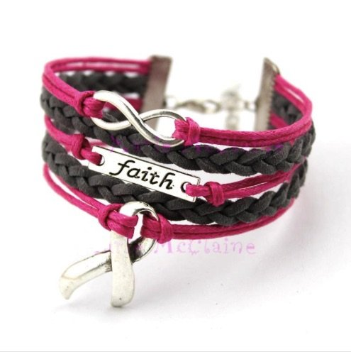 Faith Pink Ribbon (Cancer Awareness Pink Ribbon Bracelet, Faith Bracelet, Infinity Bracelet & Autism Awareness, Makes the Perfect Gift)