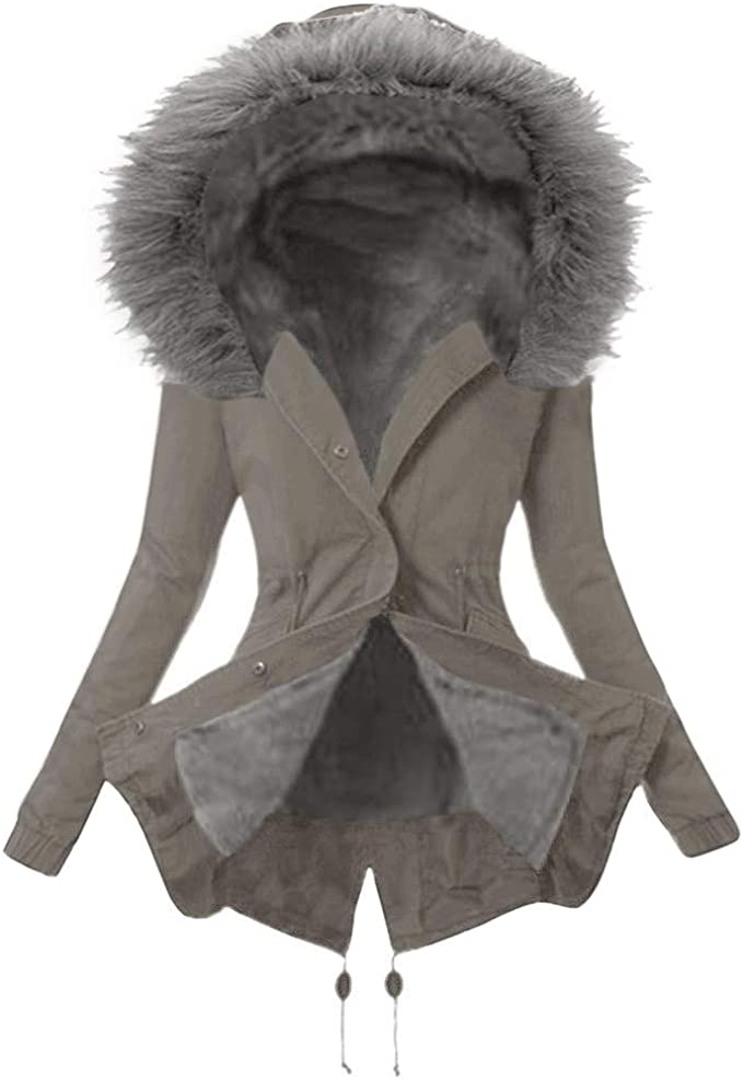 SUMTTER Winterjacke Damen mit Fell Parka mit Pelzkapuze Dicker Coat Mantel Warm Gefüttert Sale