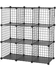 SONGMICS Planksysteem insteekrek individueel instelbaar 9 vakken zwart van draadgaas 93 x 31 x 93 cm (B x H x D), LPI115H, zwart